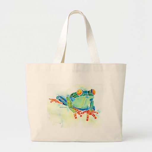 Tree Frog Whimsical Green Canvas Bags