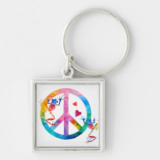 Tree Frogs 4 Peace Silver-Colored Square Keychain