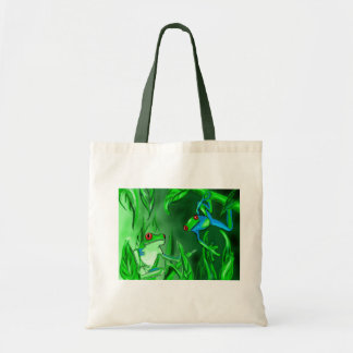 Tree frogs on a tote bag