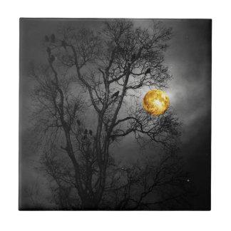 Tree full of ravens with a full moon. tile