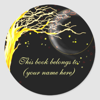 Tree, glowing with fireflies classic round sticker