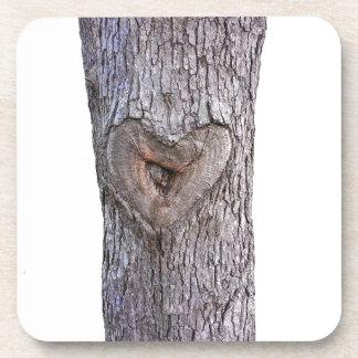Tree heart drink coaster