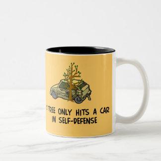 Tree Hits Car Two-Tone Coffee Mug