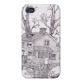 Tree house line drawing cover for iPhone 4