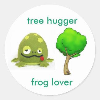 Tree Hugger Frog Lover Round Sticker