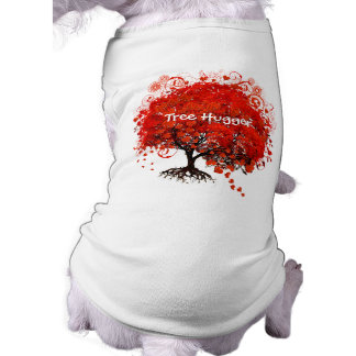Tree Hugger! Red Tree With Hearts and Swirls Dog Shirt