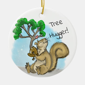 Tree Hugger! Squirrel Ceramic Ornament