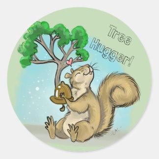 Tree Hugger! Squirrel Classic Round Sticker