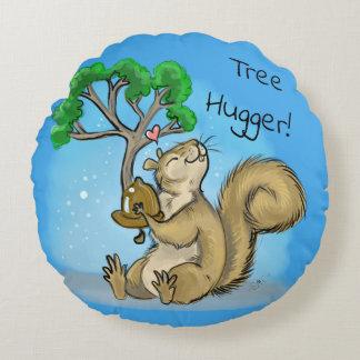Tree Hugger! Squirrel Round Pillow