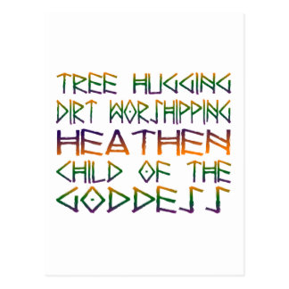 tree hugging dirt worshipper postcard