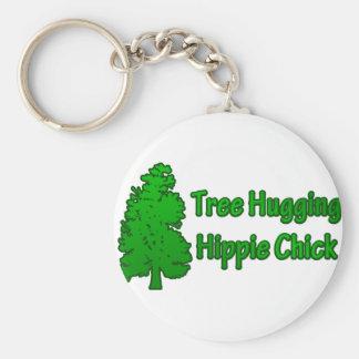 Tree Hugging Hippie Chick Basic Round Button Keychain