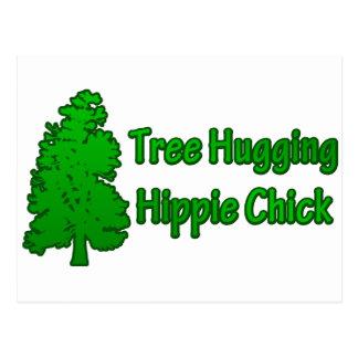 Tree Hugging Hippie Chick Postcard