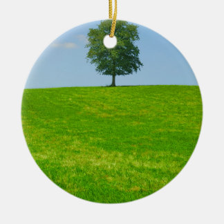 Tree in  a field ceramic ornament