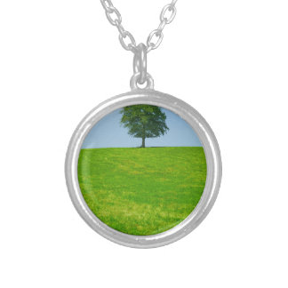 Tree in  a field silver plated necklace