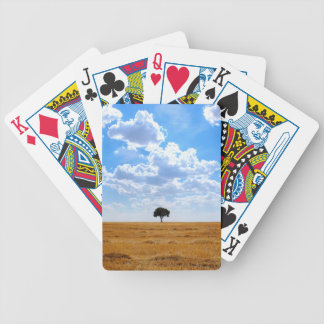 Tree in an harvested wheat field bicycle playing cards