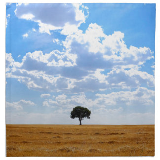 Tree in an harvested wheat field napkin