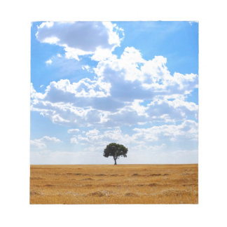 Tree in an harvested wheat field notepad
