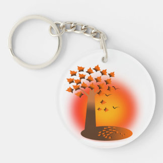 tree in autumn Double-Sided round acrylic keychain