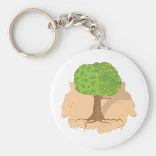 Tree in Hands Keychains