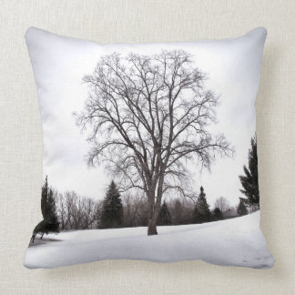 Tree in Landscape Early Spring Snow Throw Pillow