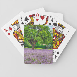 Tree in Lavender Field, France Playing Cards