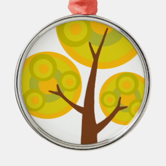 tree in the fall Silver-Colored round ornament