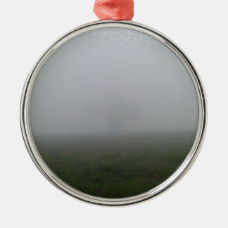 Tree in the Fog Silver-Colored Round Ornament