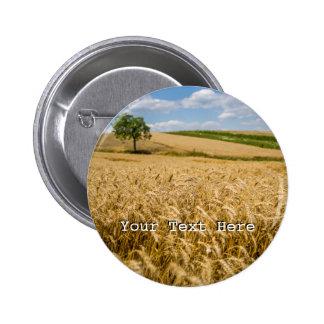 Tree In Wheat Field Landscape 2 Inch Round Button