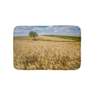 Tree In Wheat Field Landscape Bath Mat