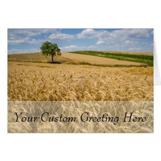 Tree In Wheat Field Landscape Card