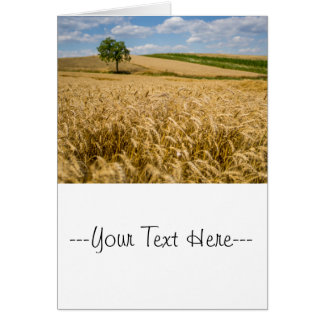 Tree In Wheat Field Landscape Card