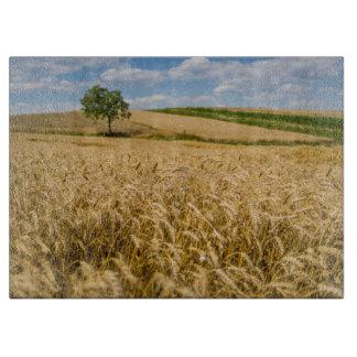 Tree In Wheat Field Landscape Cutting Board