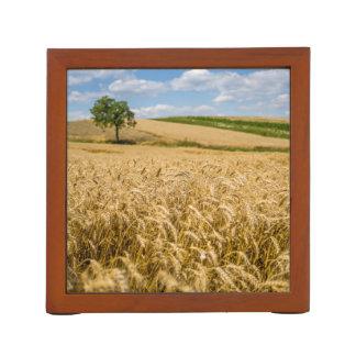 Tree In Wheat Field Landscape Desk Organizer