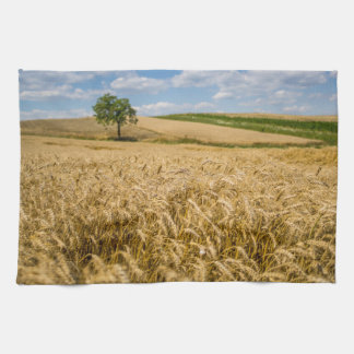 Tree In Wheat Field Landscape Kitchen Towel