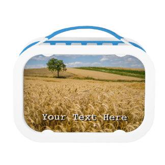 Tree In Wheat Field Landscape Lunch Box