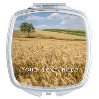 Tree In Wheat Field Landscape Makeup Mirror