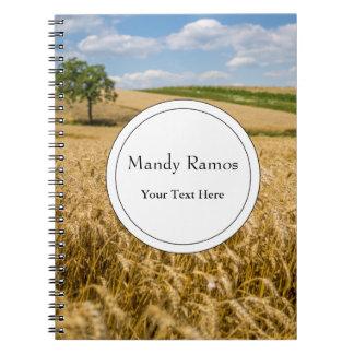 Tree In Wheat Field Landscape Notebooks