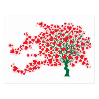 Tree in Wind with Hearts in Red Colors Postcard