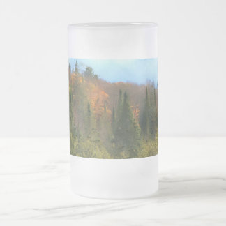 Tree Landscape Autumn Glow Frosted Glass Beer Mug