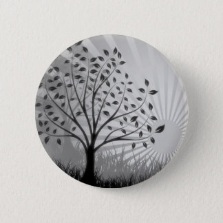 Tree Leaves Grass Silhouette & Sunburst - B&W 2 Inch Round Button