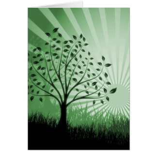 Tree Leaves Grass Silhouette & Sunburst - Green Card