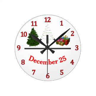 Tree + Lights + Gifts = December 25 Round Clock