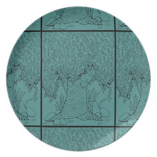 Tree Line Art Design Dinner Plates
