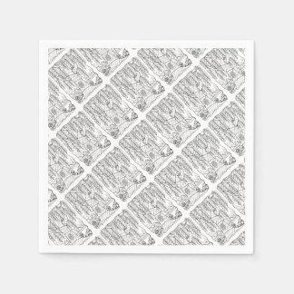 Tree Line Art Design Disposable Napkin