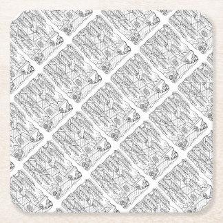 Tree Line Art Design Square Paper Coaster