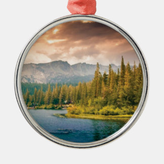 tree line in the wilderness metal ornament