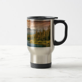 tree line in the wilderness travel mug