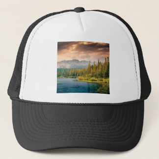 tree line in the wilderness trucker hat