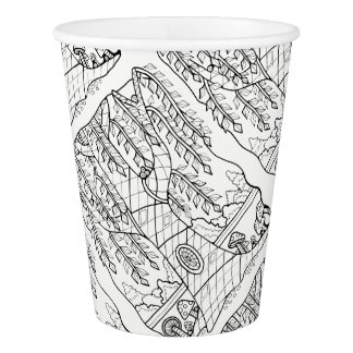 Tree Lineart Design Paper Cup
