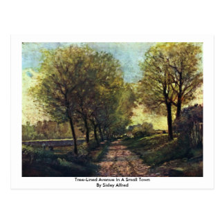 Tree-Lined Avenue In A Small Town By Sisley Alfred Postcard